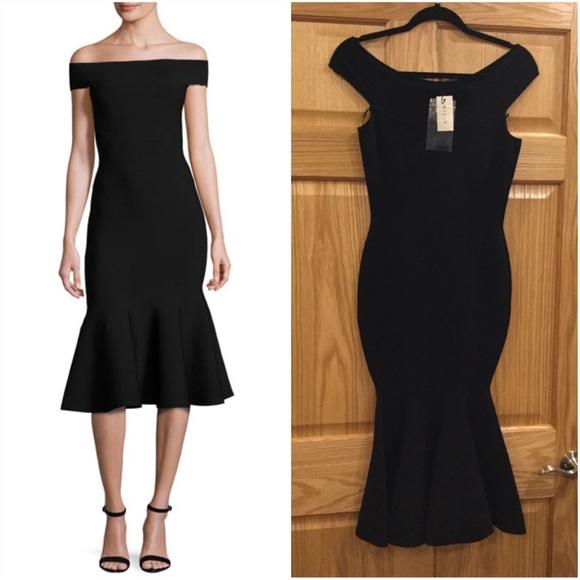 41387cbfdf03 Milly Dresses | Offtheshoulder Mermaid Midi Dress Black | Poshmark